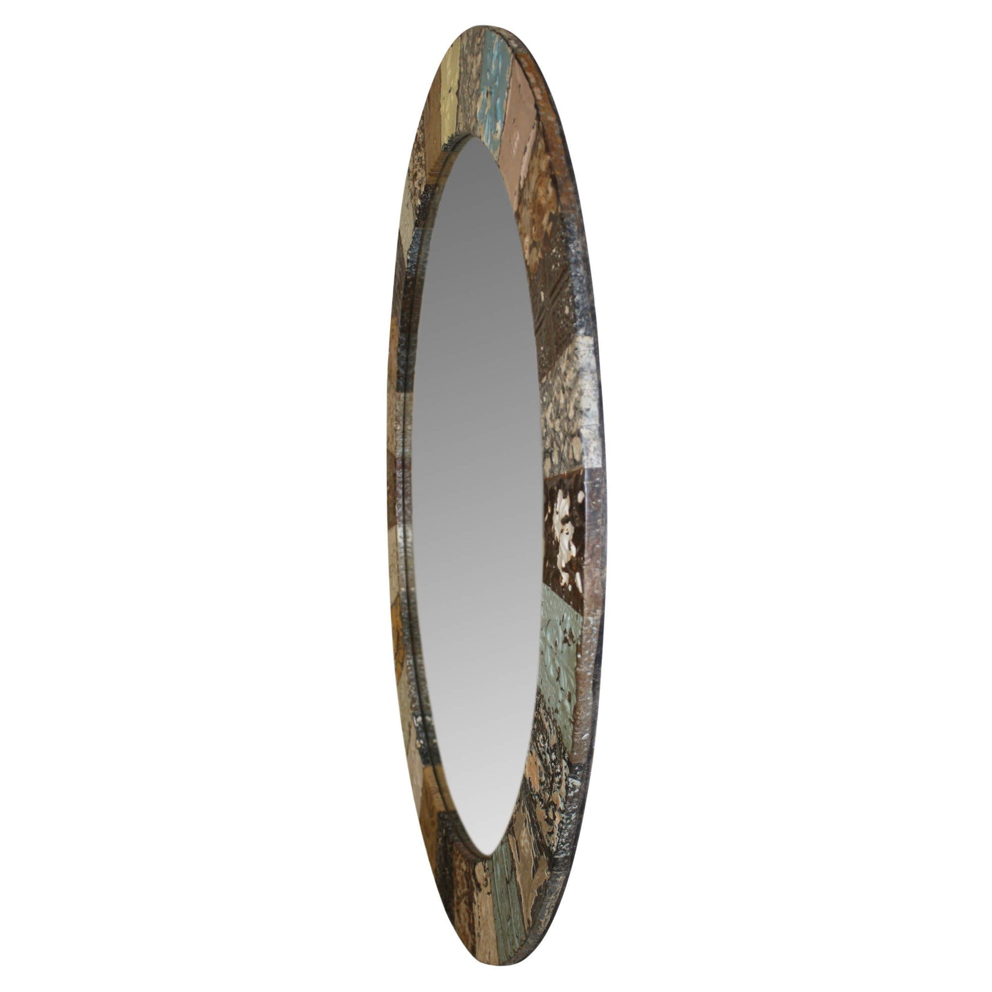 Tin Patch Round Mirror