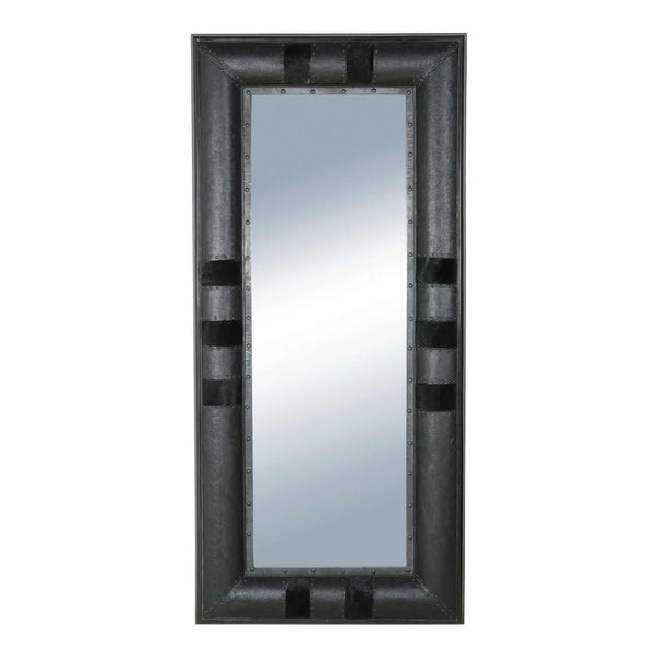 Mirror with Embossed Black Leather and Cowhide Frame