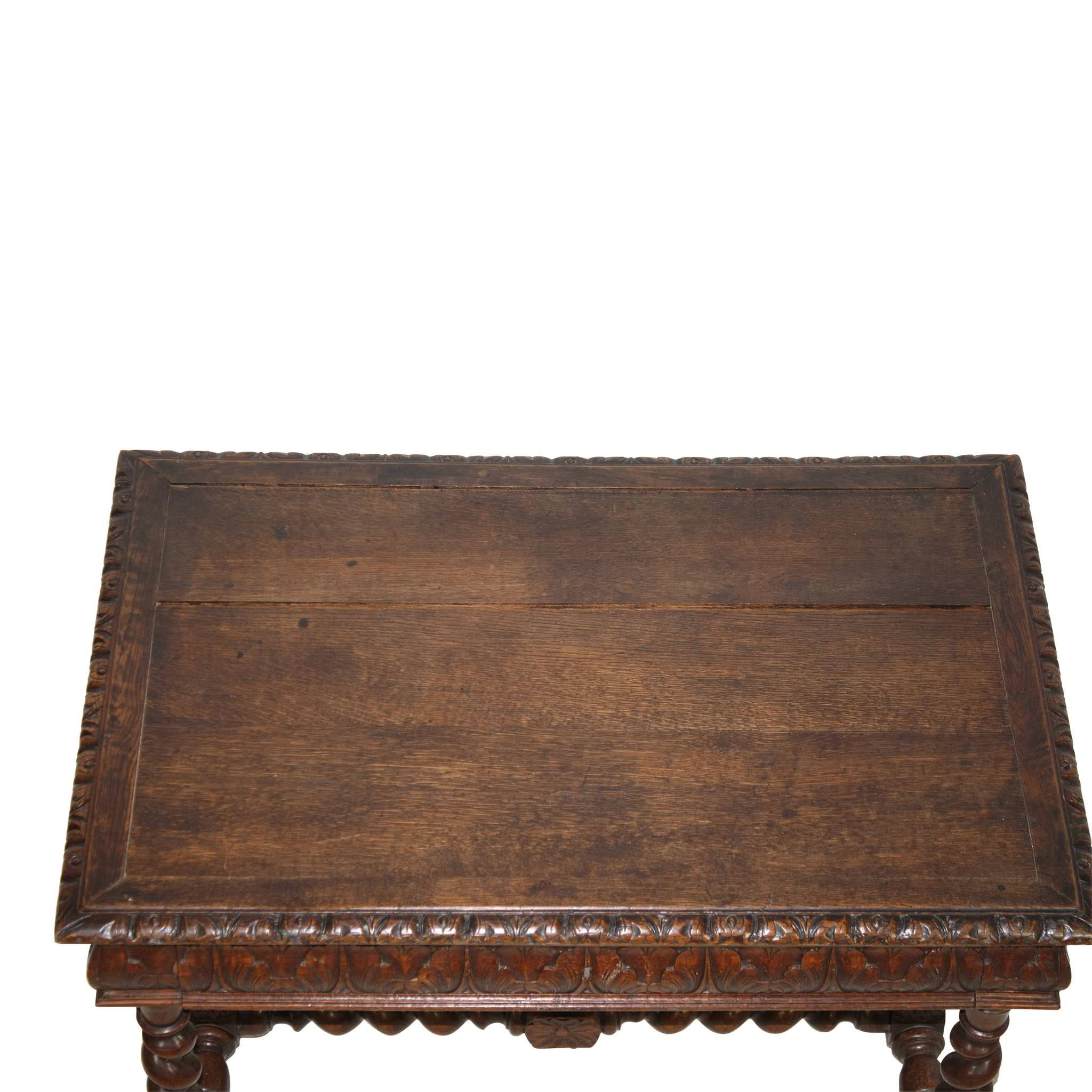 Carved Desk with Barley Twist Legs