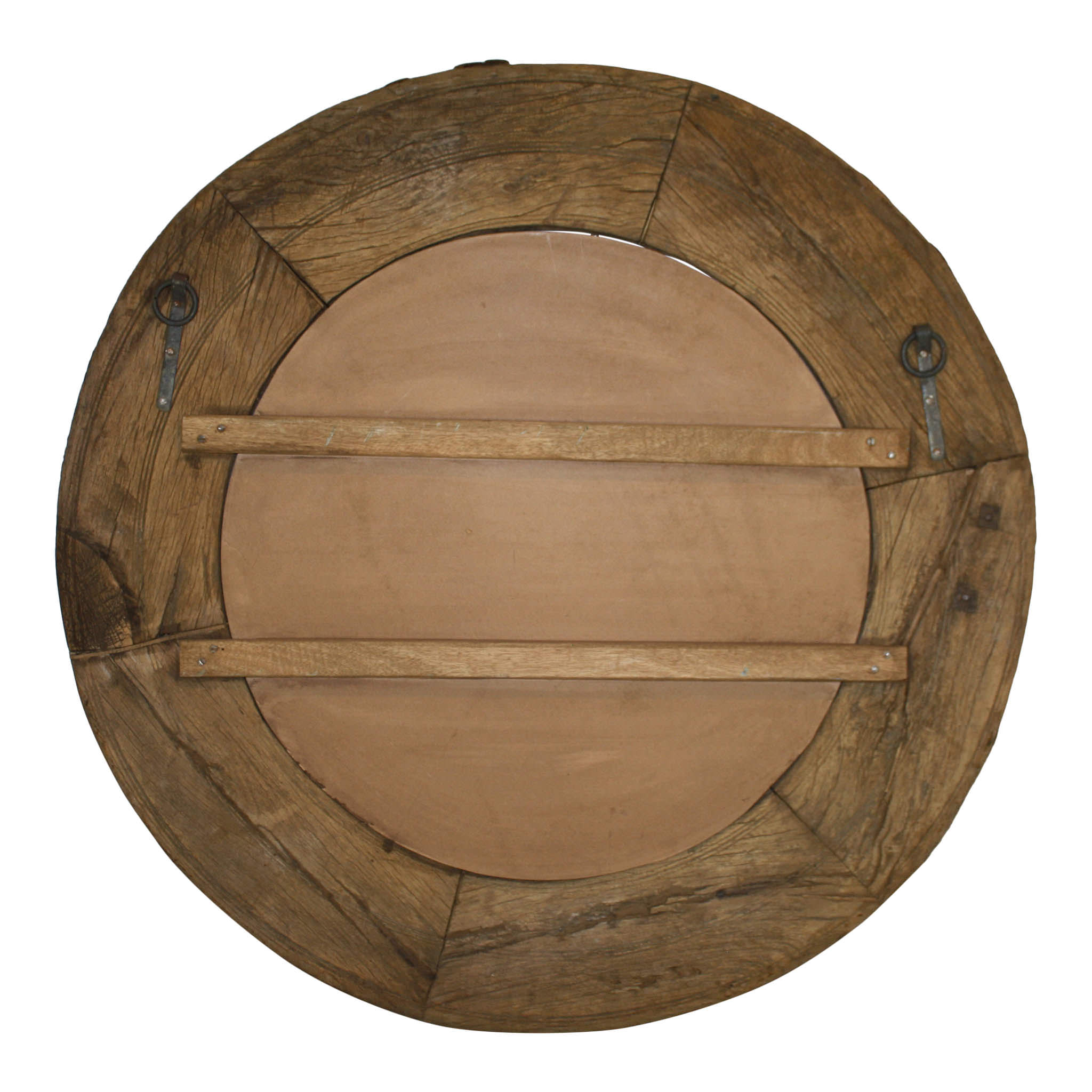 Round Mirror with Rustic Wood Frame