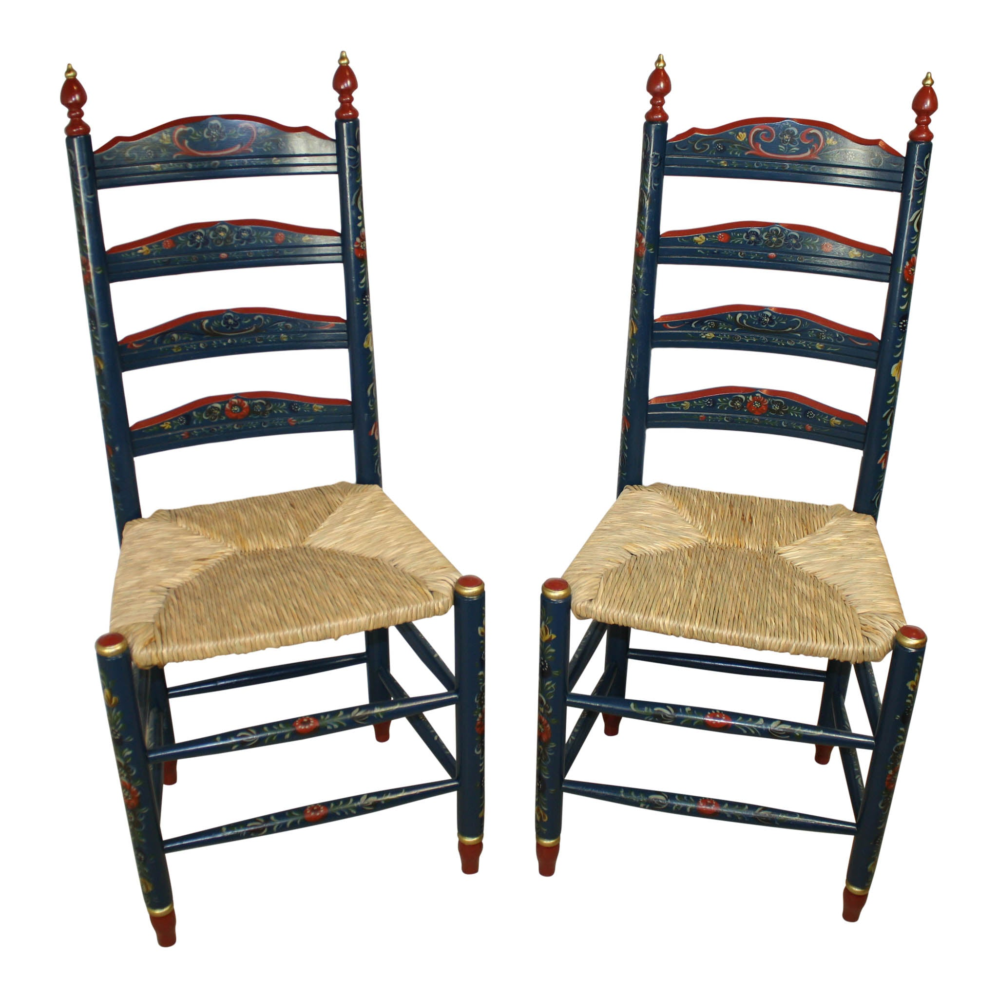 Dutch Hand Painted Chairs/Set Of Two