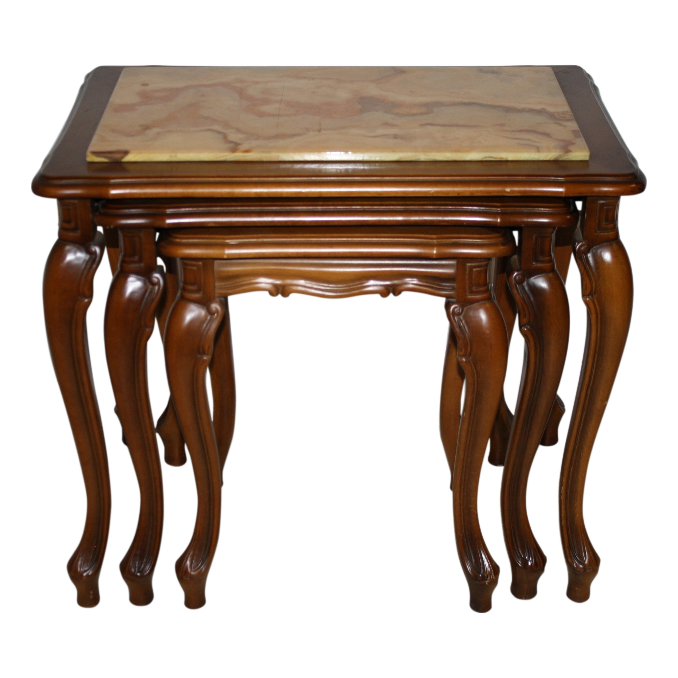 Walnut Nesting Tables with Marble Tops