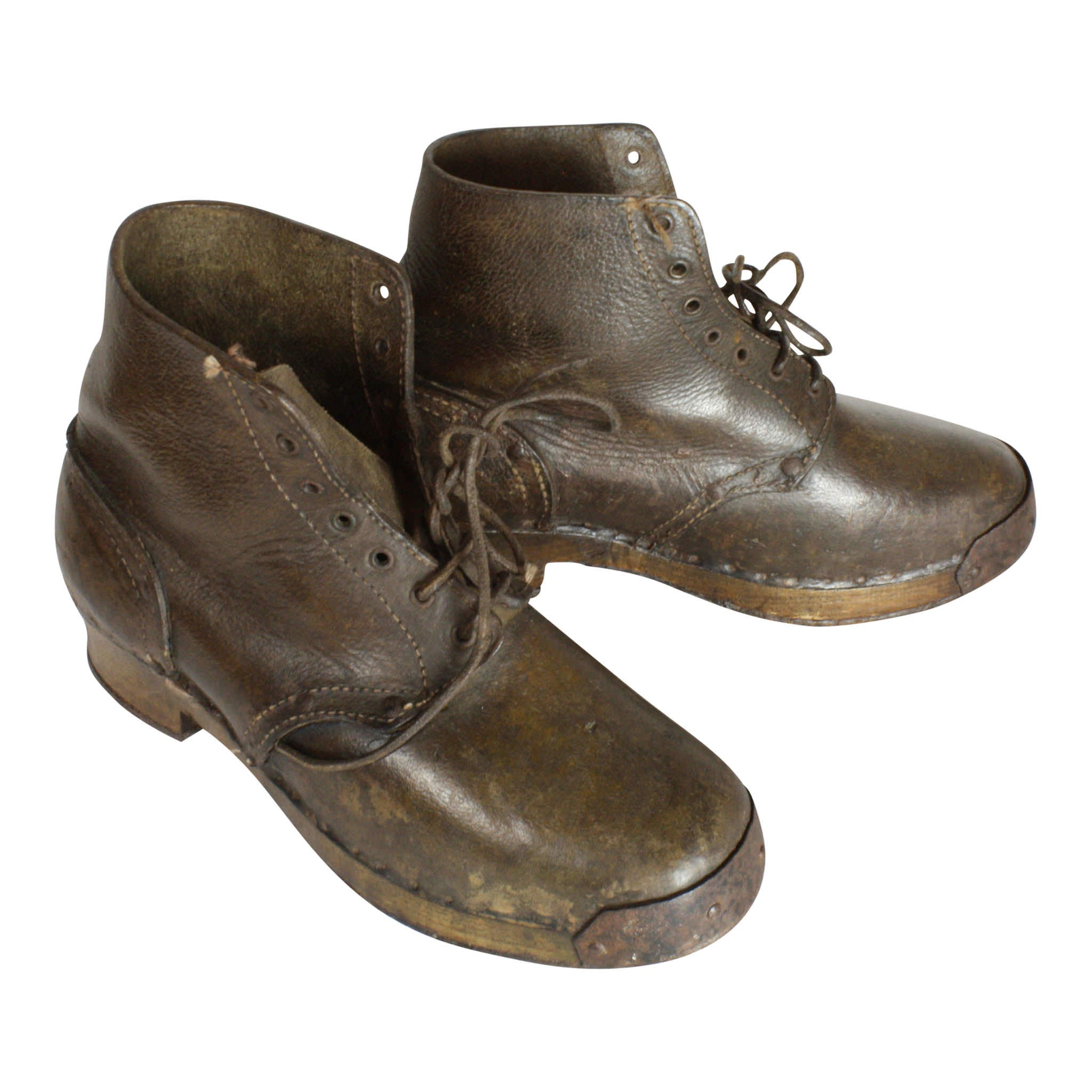 Leather Boots with Wooden Soles and Iron Cleats