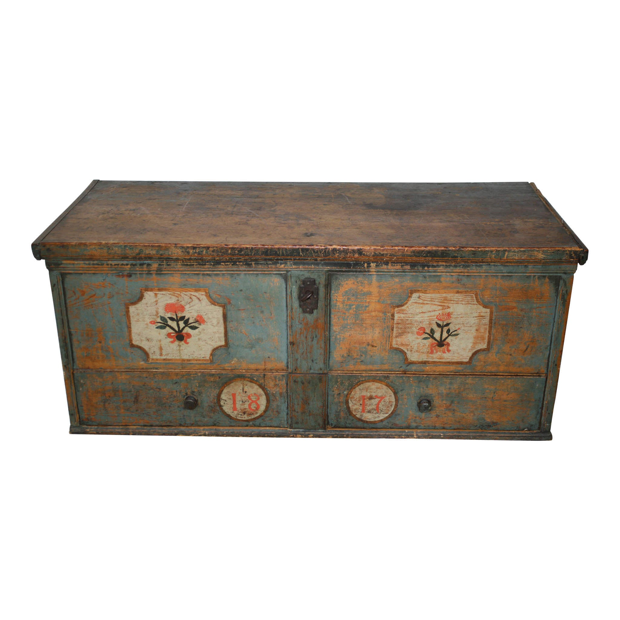 Large Painted Trunk with Drawer