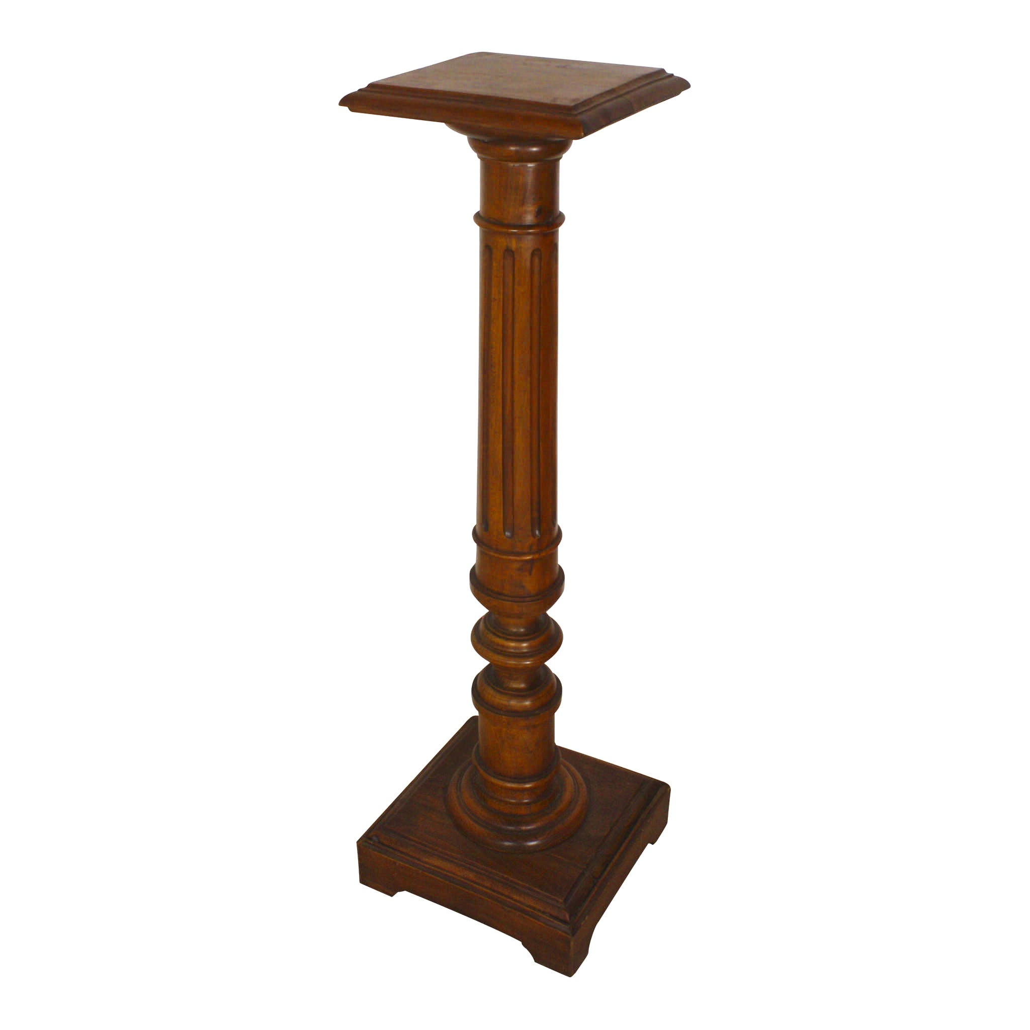 French Walnut Pedestal Plant Stand/Column
