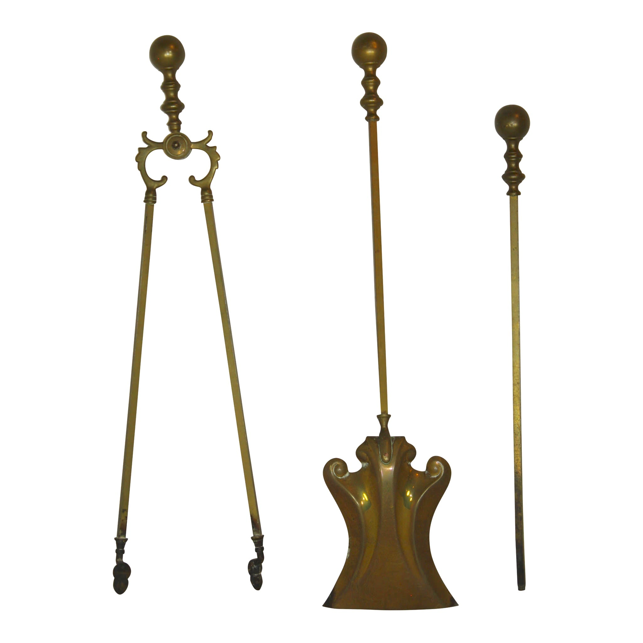 Brass Fireplace Tools/Set of Three
