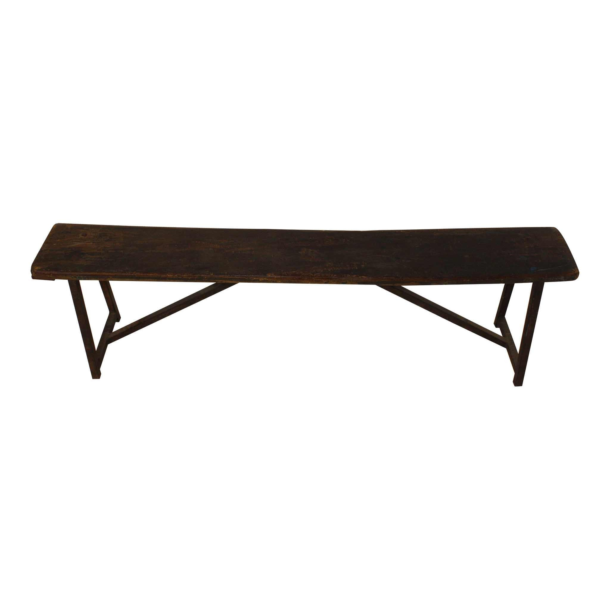 Industrial Wood Bench with Steel Legs