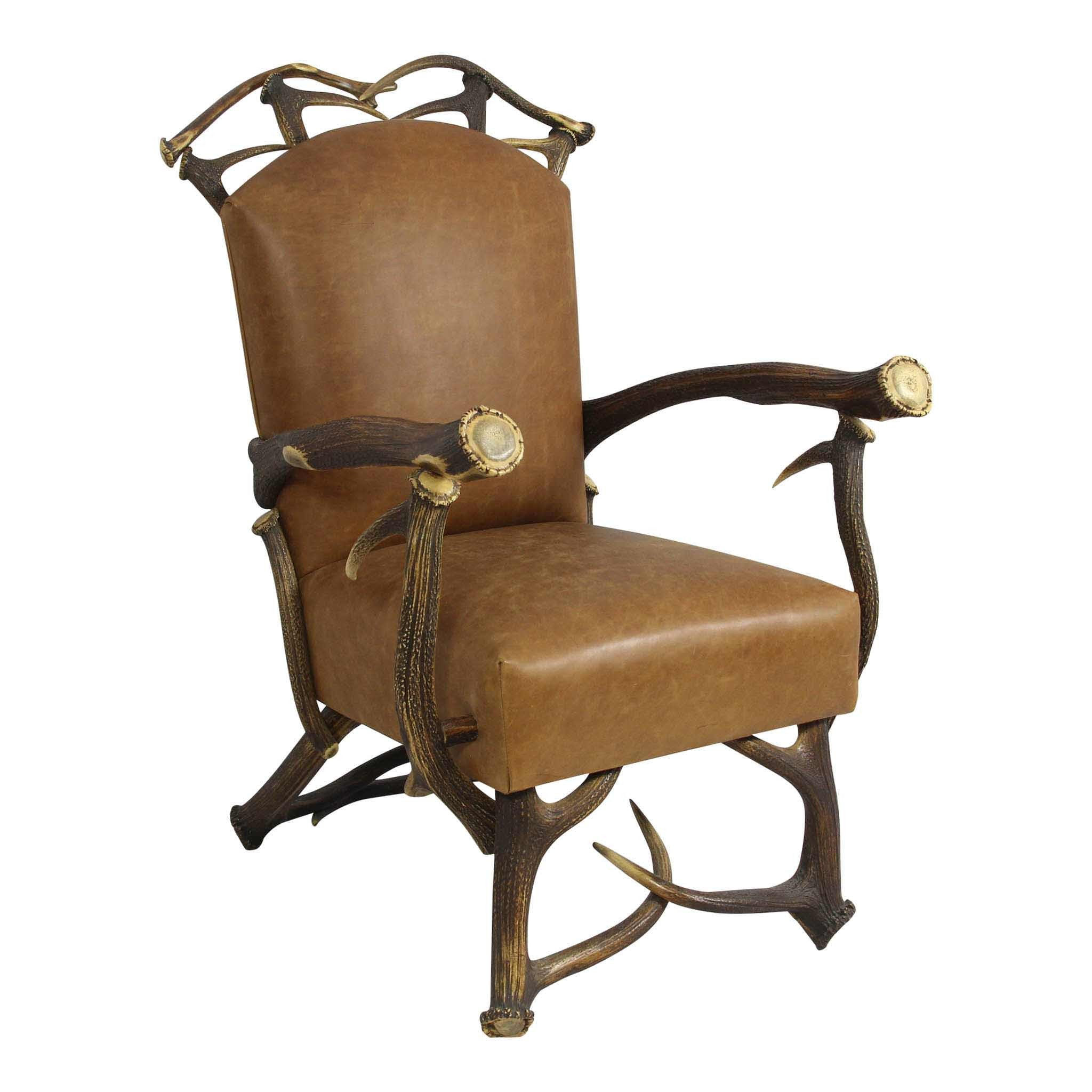 Leather and Antler Chair W/ Ottoman
