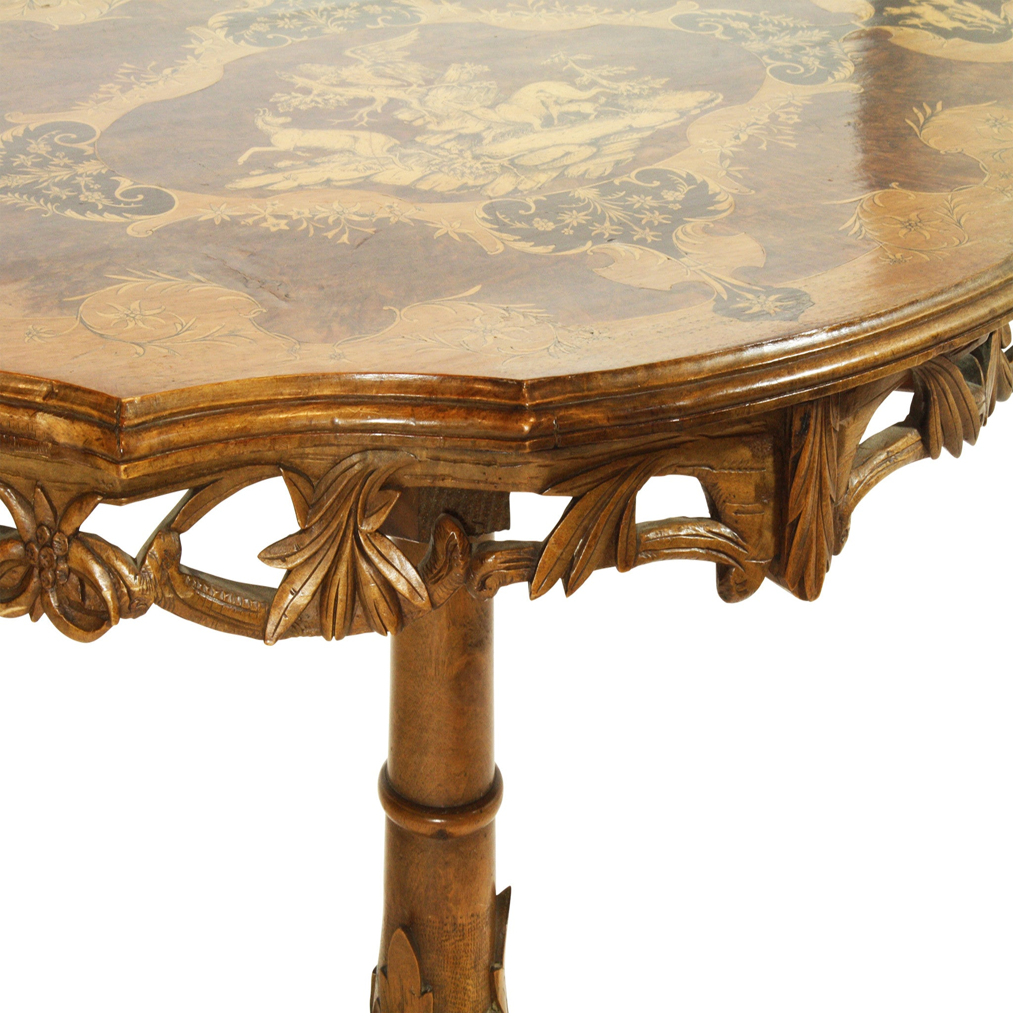 ski-country-antiques - Swiss Inlay Side Table