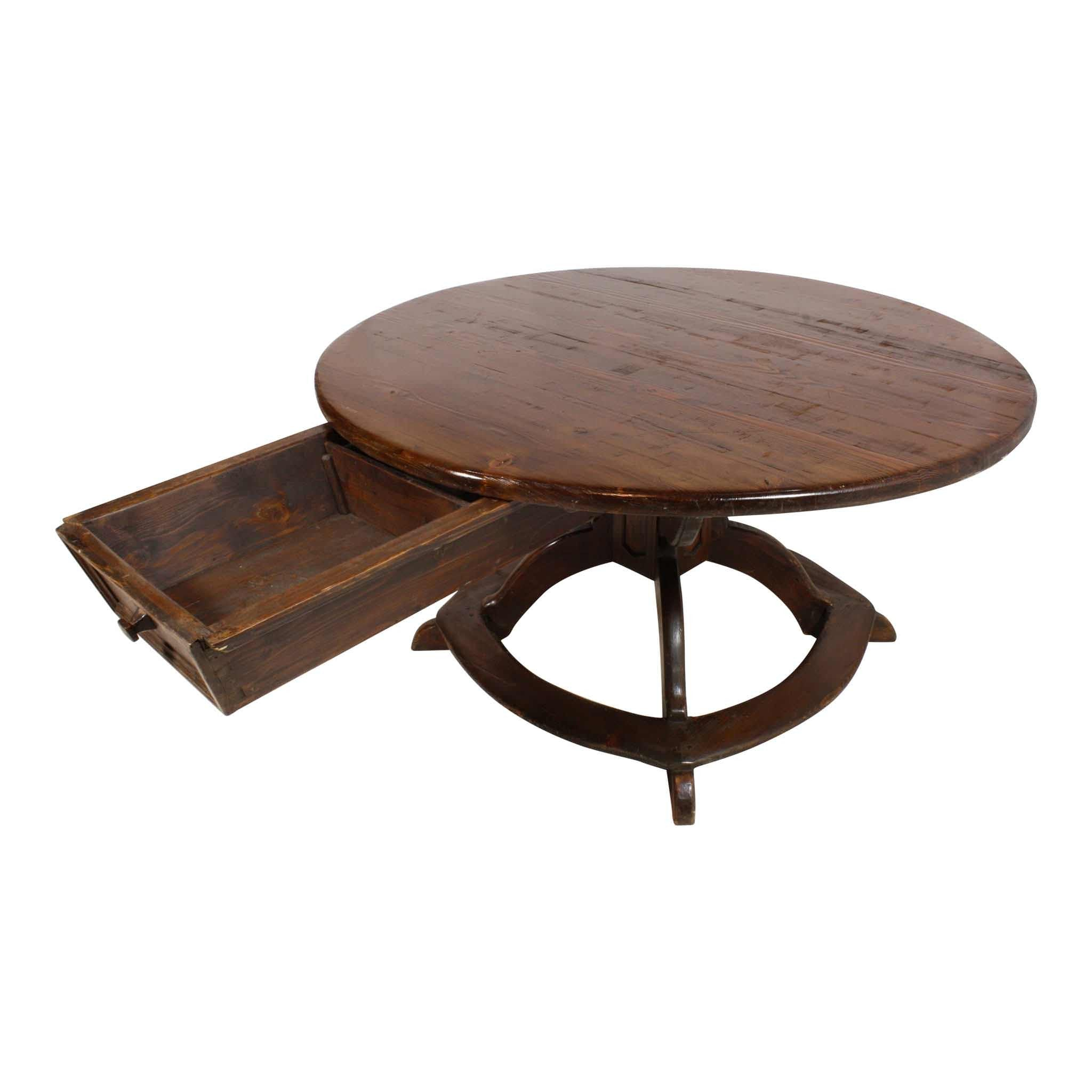 Round Trestle Table With Two Way Drawer