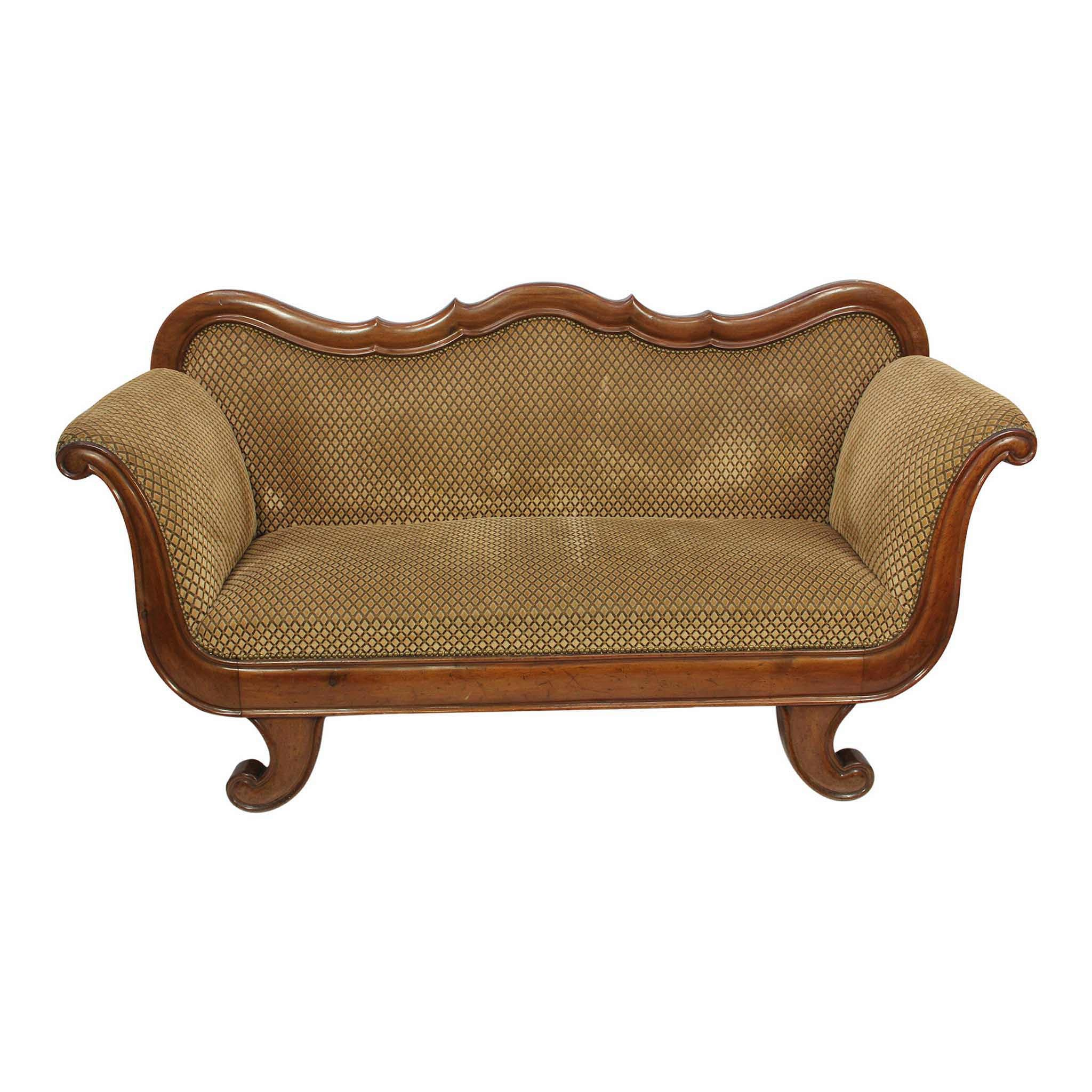 Walnut Uphostered Loveseat