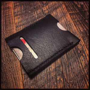 Leather Card Sleeve Wallet with External Money Slot