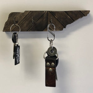 Wood Tennessee Map Wall Key Jewelry Holder