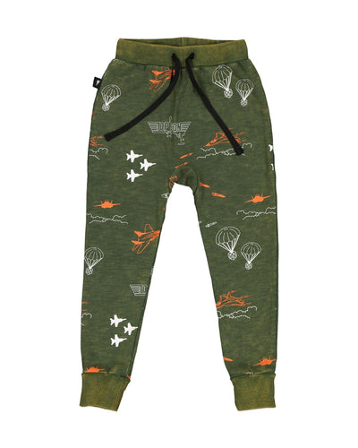 RD1309 JET PRINT PANT IN ACID GREEN