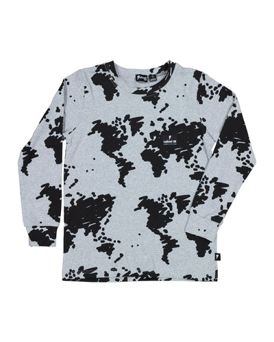 RD1336 WORLD PRINT LONG SLEEVE TEE