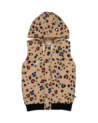 KR1412 COLOUR POP LEOPARD PUFFER VEST