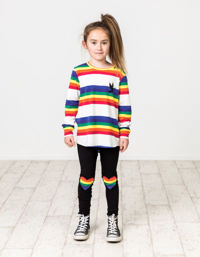 KR1206 RAINBOW HEART LEGGING IN BLACK