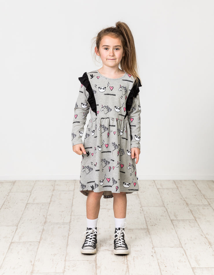 KR1244 UNICORN PANDA HIGH-LIFE DRESS