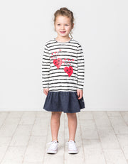 KR1403 HAPPY HEARTS L/S FRILL DRESS