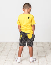 RD1418 YELLOW BOLT DENIM SHORT