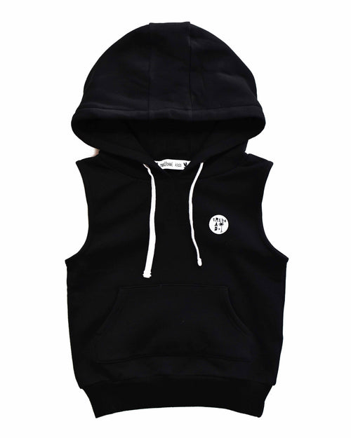 1 RT0202 SLEEVELESS HOOD in BLACK