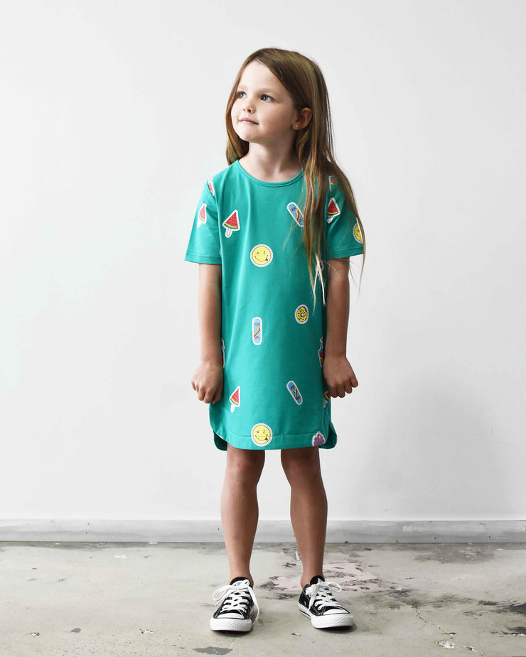 KR0805 BADGE TEE DRESS