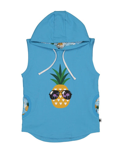 KR1325 COOL PINEAPPLE SLEEVELESS HOOD