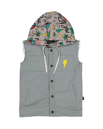 RD1413 PEACE DENIM HOOD