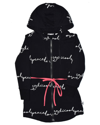 KR0718 LOVE NOTE ZIP HOOD in BLACK