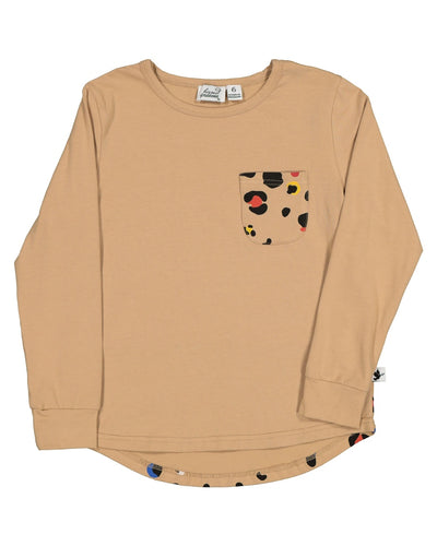 KR1410 COLOUR POP LEOPARD POCKET L/S TEE