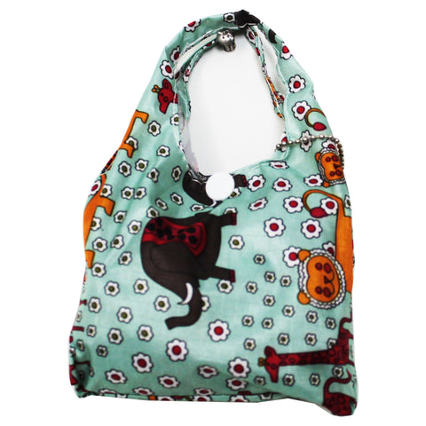 Foldable Regular  Size Shopping Bag w/ Handle - Animal Print Light Green