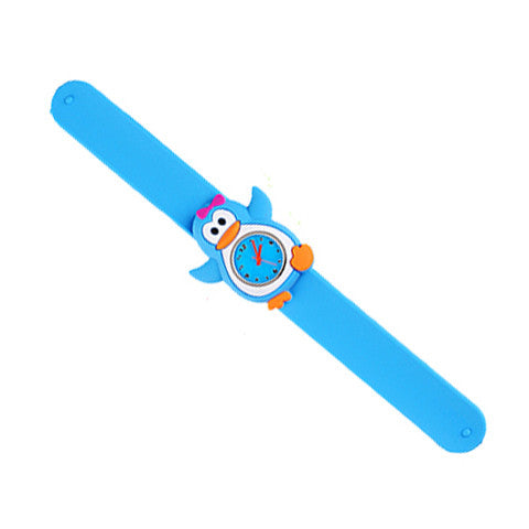 Silicone Blue Penguin Design Slap Watch with Removable Watch Case
