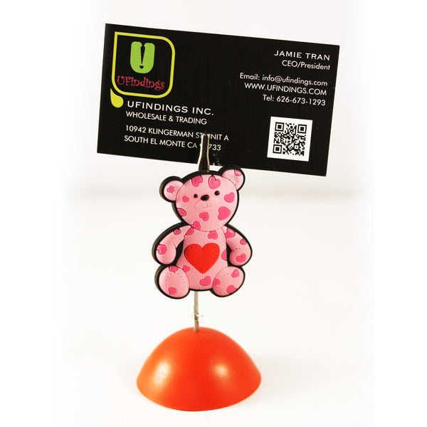 Pink Teddy Bear with Heart Photo / Memo / Name Card / Business Card Clip Hanger