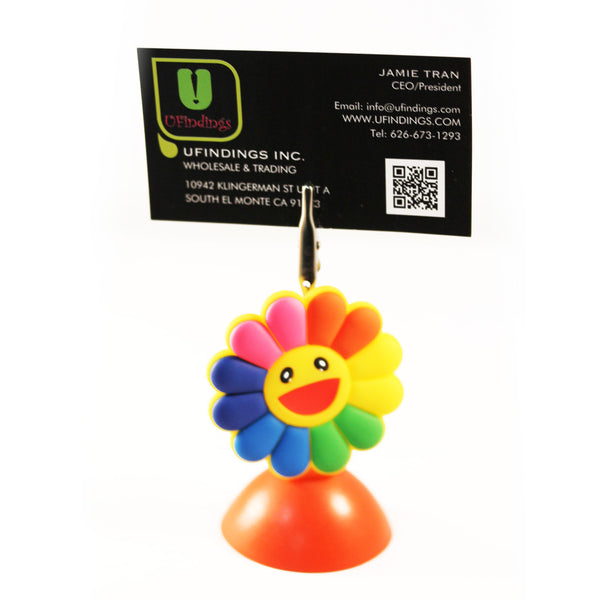 Rainbow Smiley Flower Photo / Memo / Name Card / Business Card Clip Hanger
