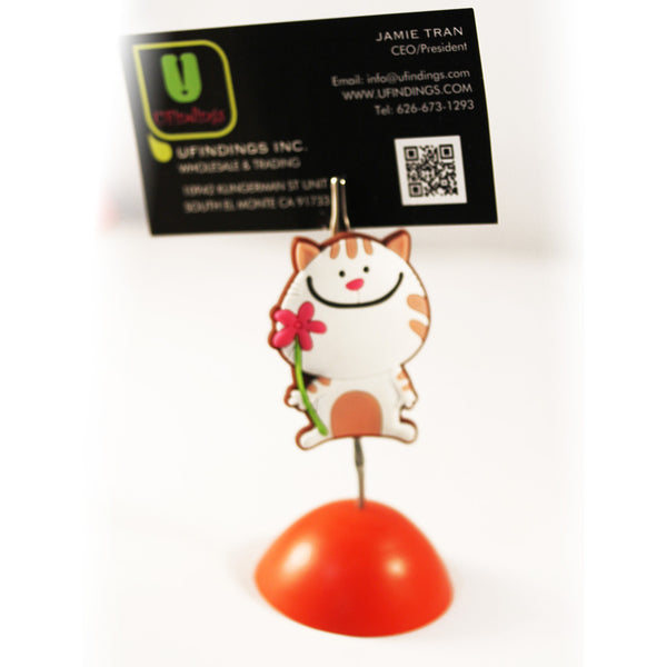 Kitty Cat with Flower Photo / Memo / Name Card / Business Card Clip Hanger