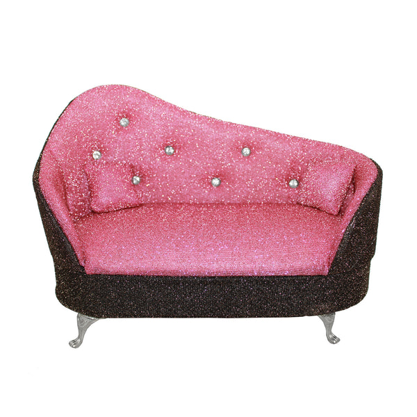 Pink Miniature Sofa Couch w/ Rhinestones Jewelry Box