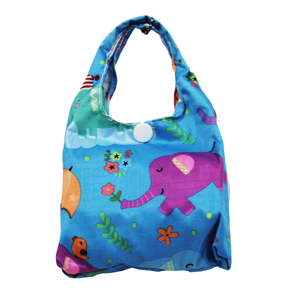 Foldable Regular  Size Shopping Bag w/ Handle - Elephant Blue