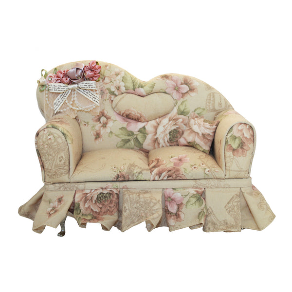 Miniature Floral Sofa Couch Jewelry Box