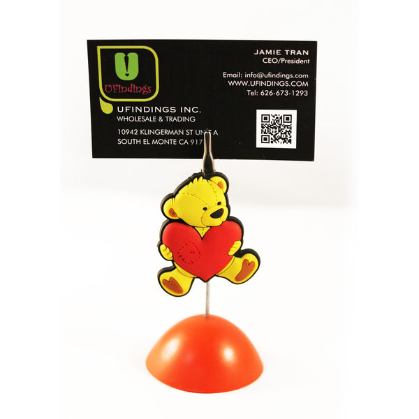 Teddy Bear with Heart  Photo / Memo / Name Card / Business Card Clip Hanger