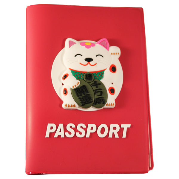 High Quality Japanese Lucky Cat PVC Thick Passport Cover/ Holder
