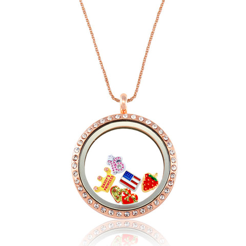 DIY Round Design Rose Gold Rhinestone Floating Locket ($4.99 each)