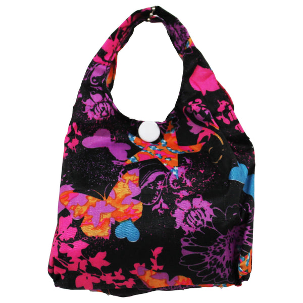 Foldable Regular  Size Shopping Bag w/ Handle -  Butterfly Black