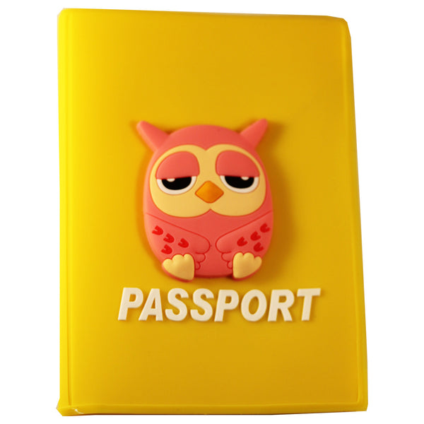 Pink Owl PVC Thick Passport Cover/ Holder