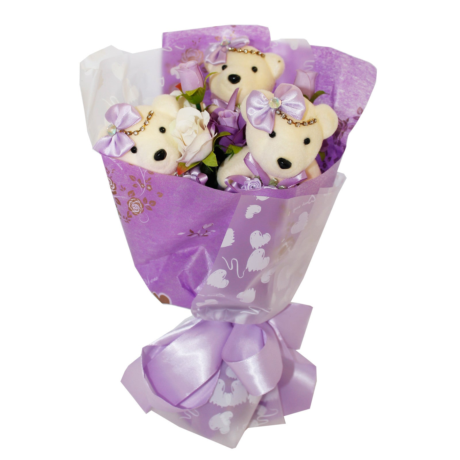 Special 3 Bear Flower Bouquet with Rhinestones Purple Design ...