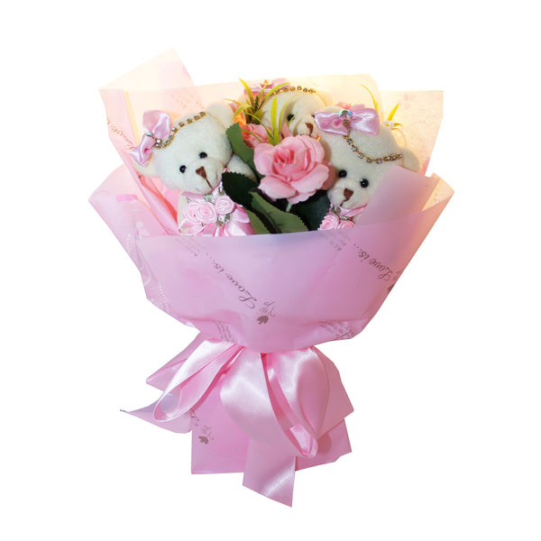 Pink Plush Bear Flower Bouquet with Rhinestones