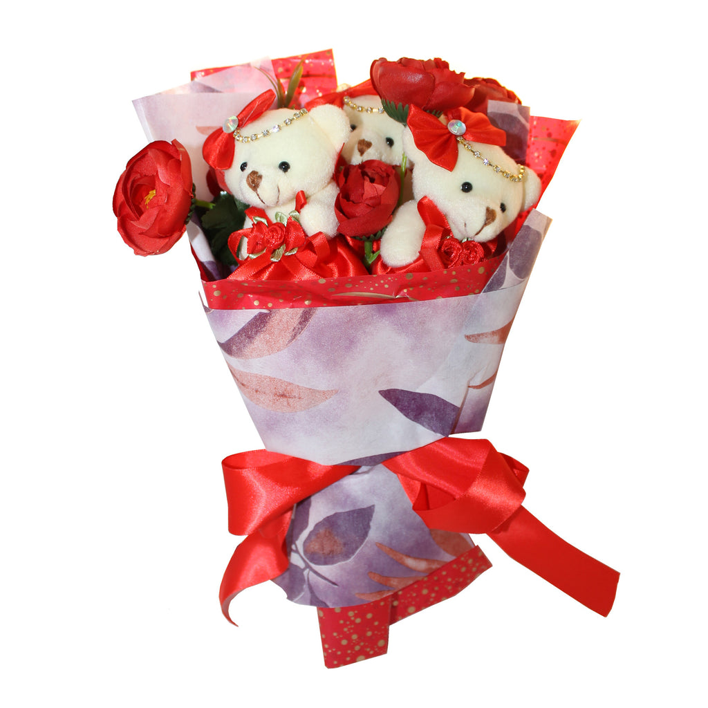 3 Red Soft Plush Bears with Rhinestones Bouquet (Comes in box of 30 - $7.50)