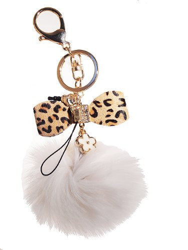 White Rabbit Fur Leopard Bow w/Rhinestones Keychain and Purse hanger ($6.99 each)