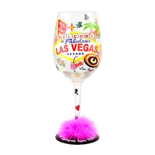 Las Vegas Nevada Wine Glass with Fur Custom Promotional Item
