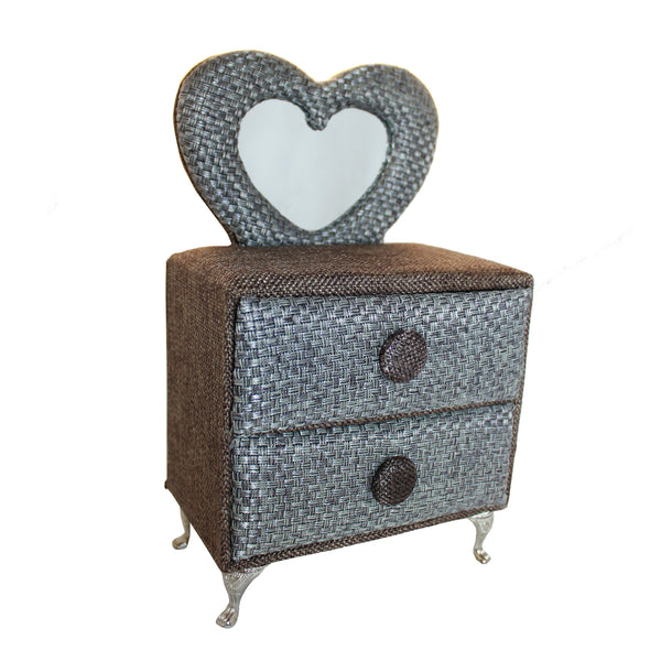 Gray Heart-Shaped Miniature Dresser Jewelry Box