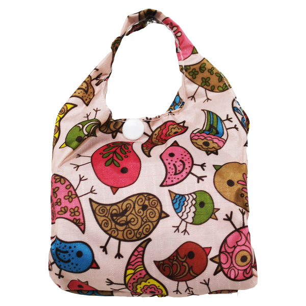 Foldable Regular  Size Shopping Bag w/ Handle - Bird Print Brown
